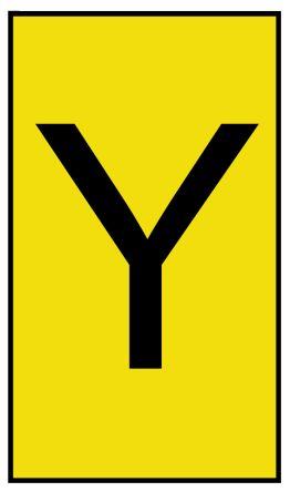 HellermannTyton Ovalgrip Slide On Cable Marker, Pre-printed Y Black on Yellow 1.7 → 3.6mm Dia. Range