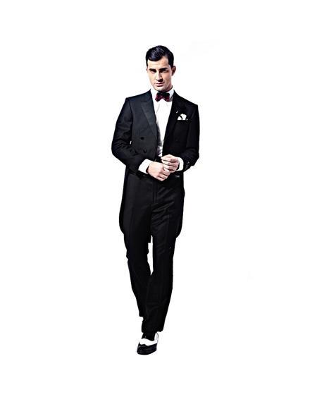 Verno Mens Double Breasted Peak Lapel Black Full Dress 2-Piece Tuxedo