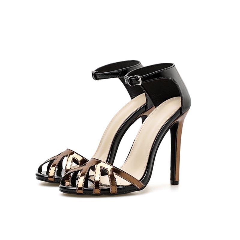 Ericdress Heel Covering Line-Style Buckle Peep Toe Color Block Sandals