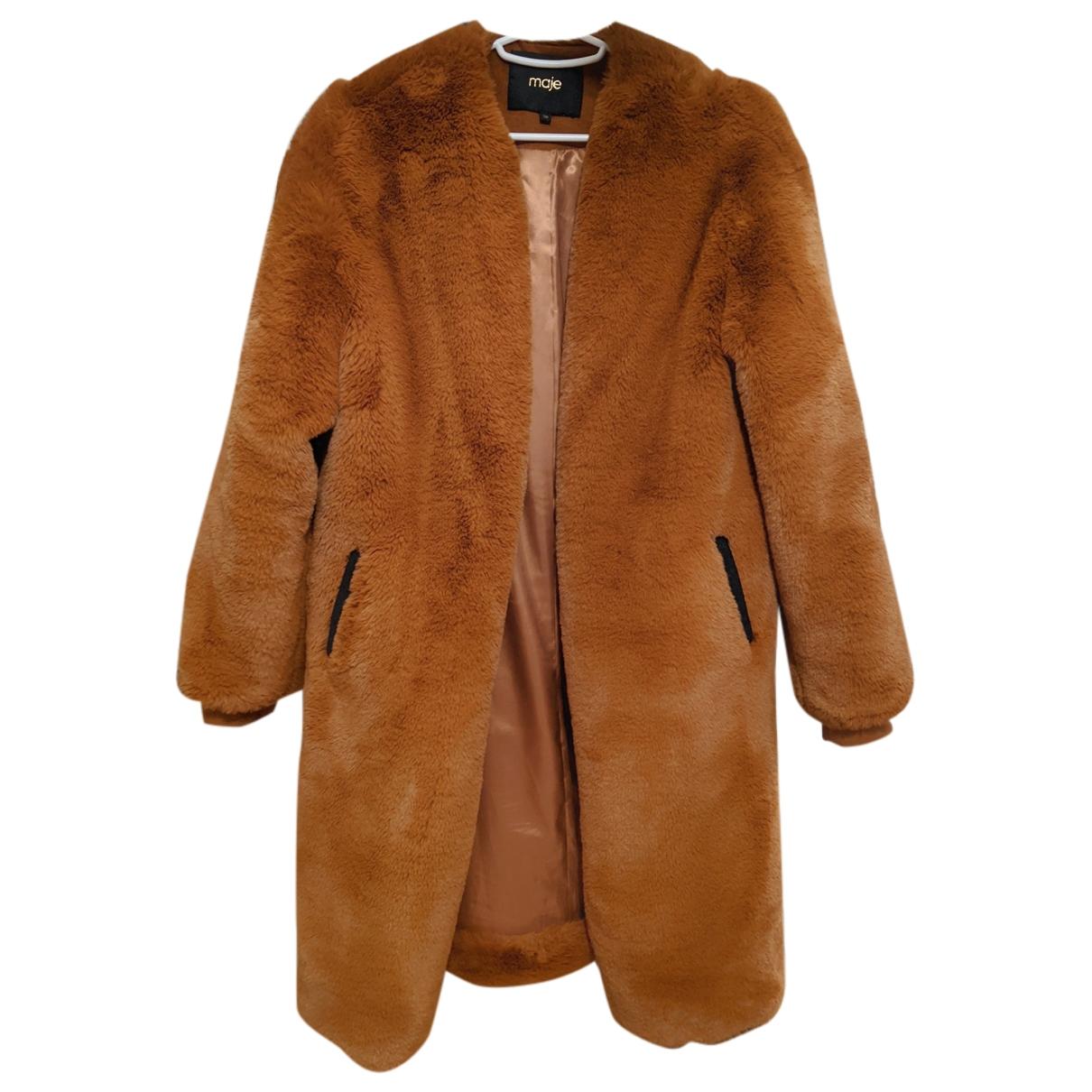 Maje - Manteau   pour femme en fourrure synthetique - camel