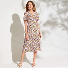 Flounce Sleeve Button Front Floral Dress