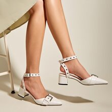 Eyelet Buckle Decor Ankle Strap Chunky Pumps