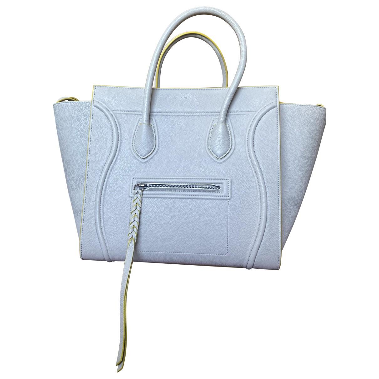 Celine - Sac a main Luggage Phantom pour femme en cuir - beige