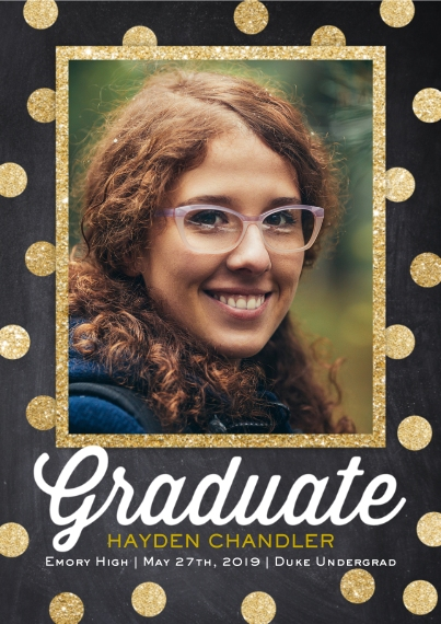 Graduation Announcements Flat Glossy Photo Paper Cards with Envelopes, 5x7, Card & Stationery -Modern Dot Grad by Posh Paper