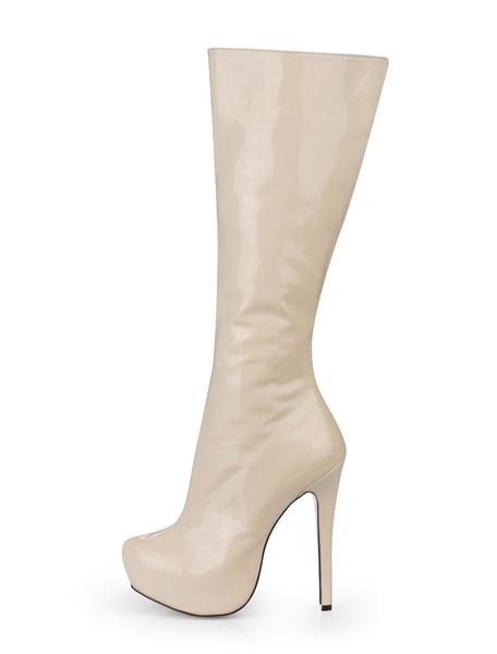 Milanoo Botas hasta la rodilla con pala de charol de puntera de forma de almendra Marfil 14cm de tacon de stiletto con cremallera de patente