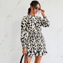 Allover Print Shirred Fitted Dress