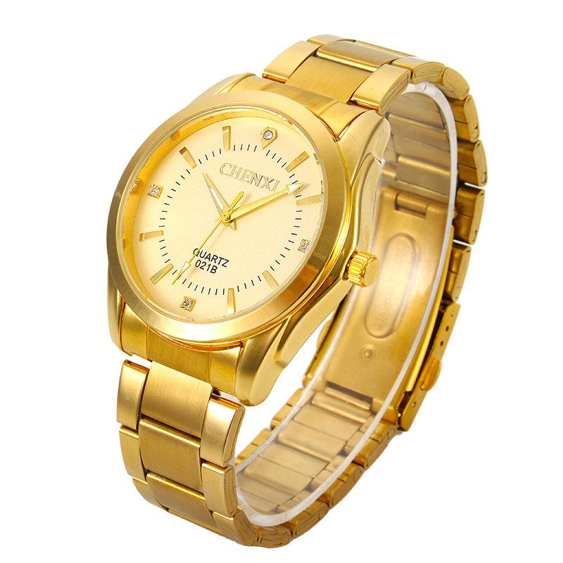 CHENXI Luxury Brand Gold Stainless Steel Mens Quartz Wristwatch Fashion Business Sport Watch