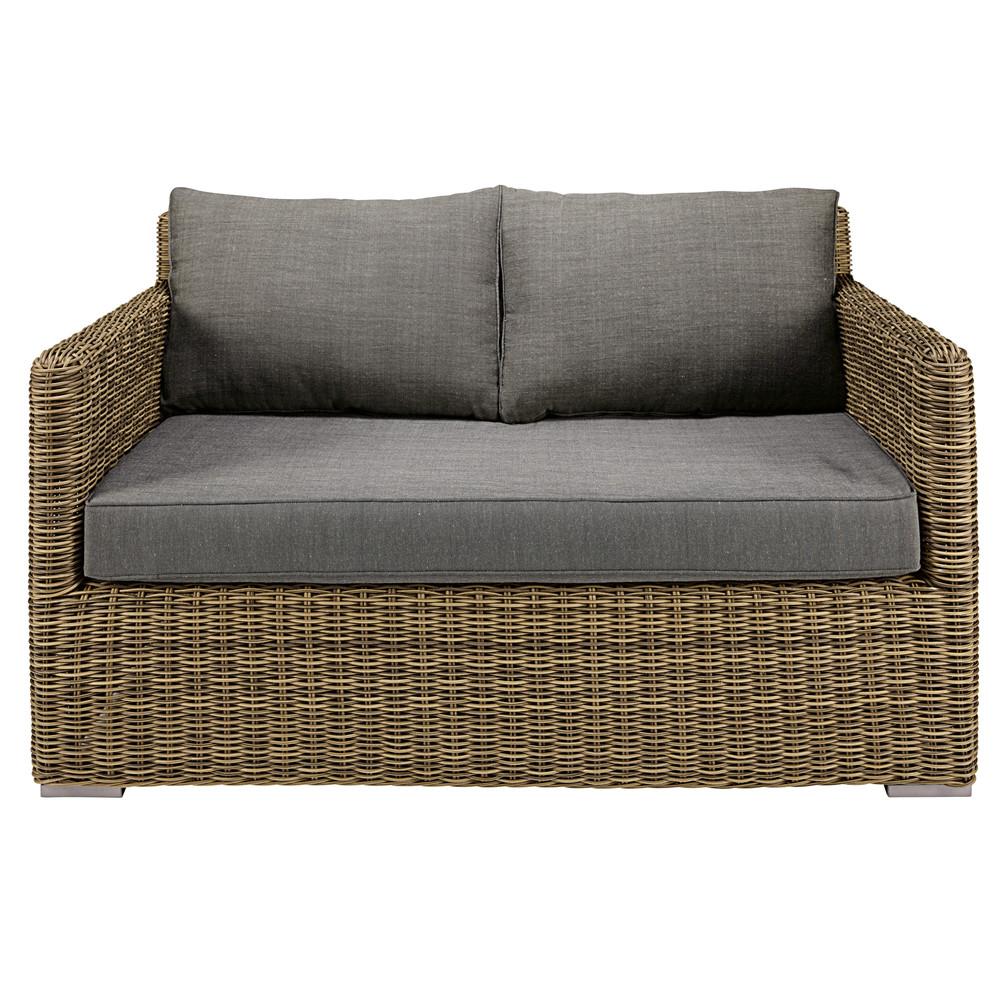 Gartensofa 2-Sitzer aus geflochtenem Kunstharz mit grauen Kissen St Raphael