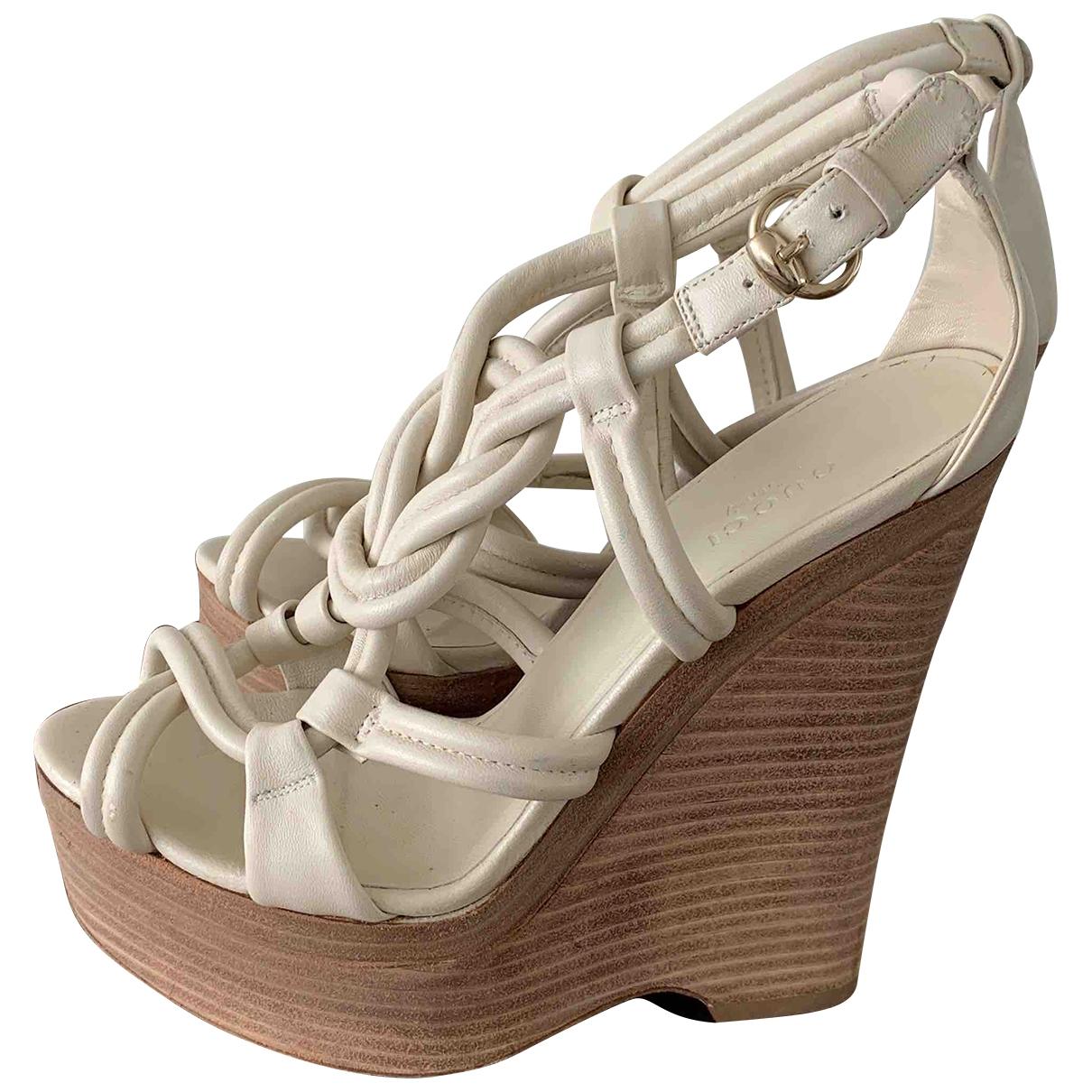 Gucci - Sandales   pour femme en cuir - ecru