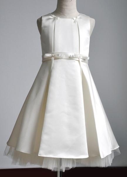 Milanoo Vestido para las damitas con escote redondo y faja