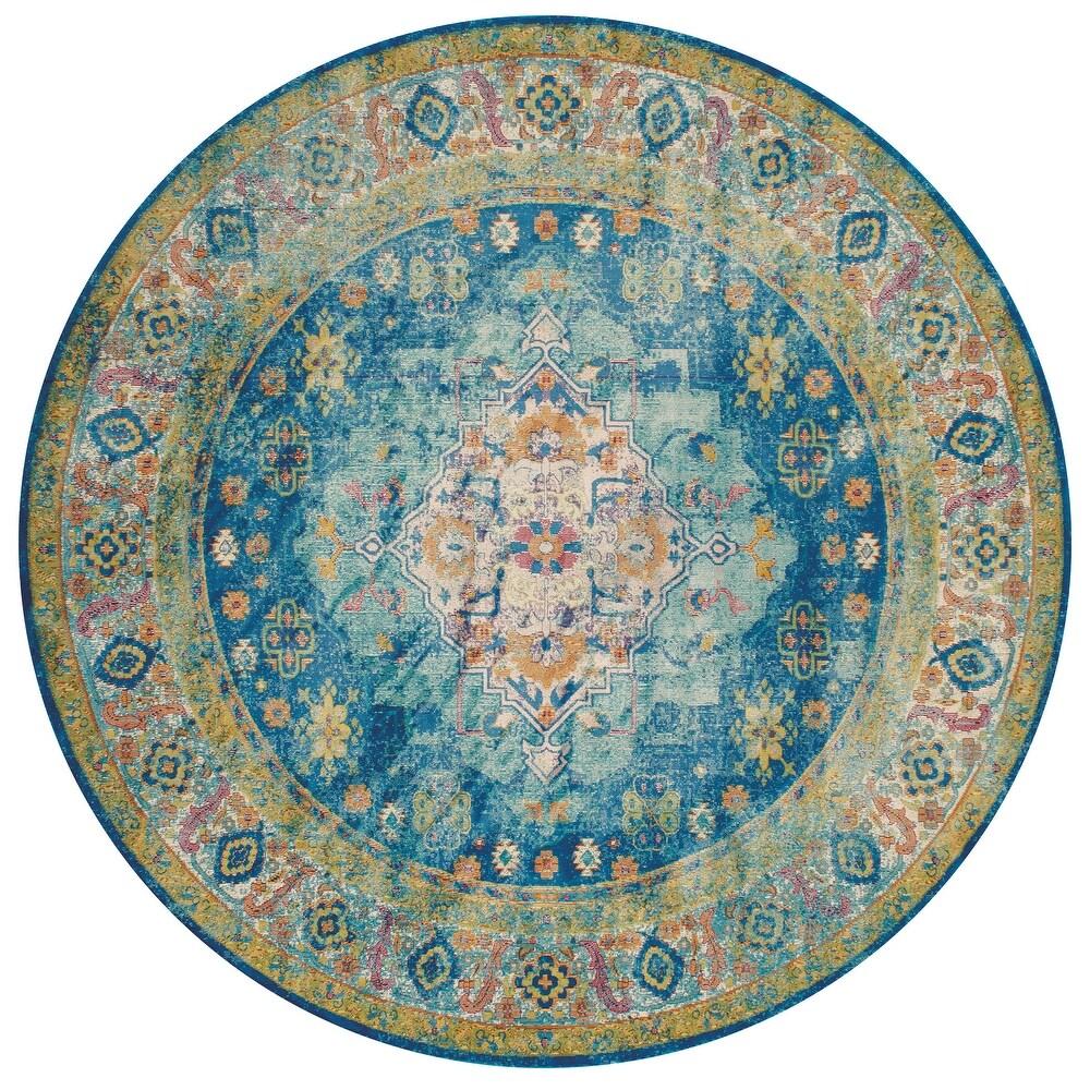 Westfield Home Britannica Amaryllis Cerulean Area Rug (Blue/Natural 110 x 72 Runner)