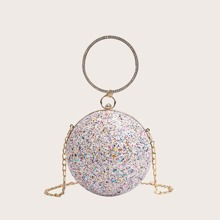 Glitter Round Ball Shaped Clutch Bag