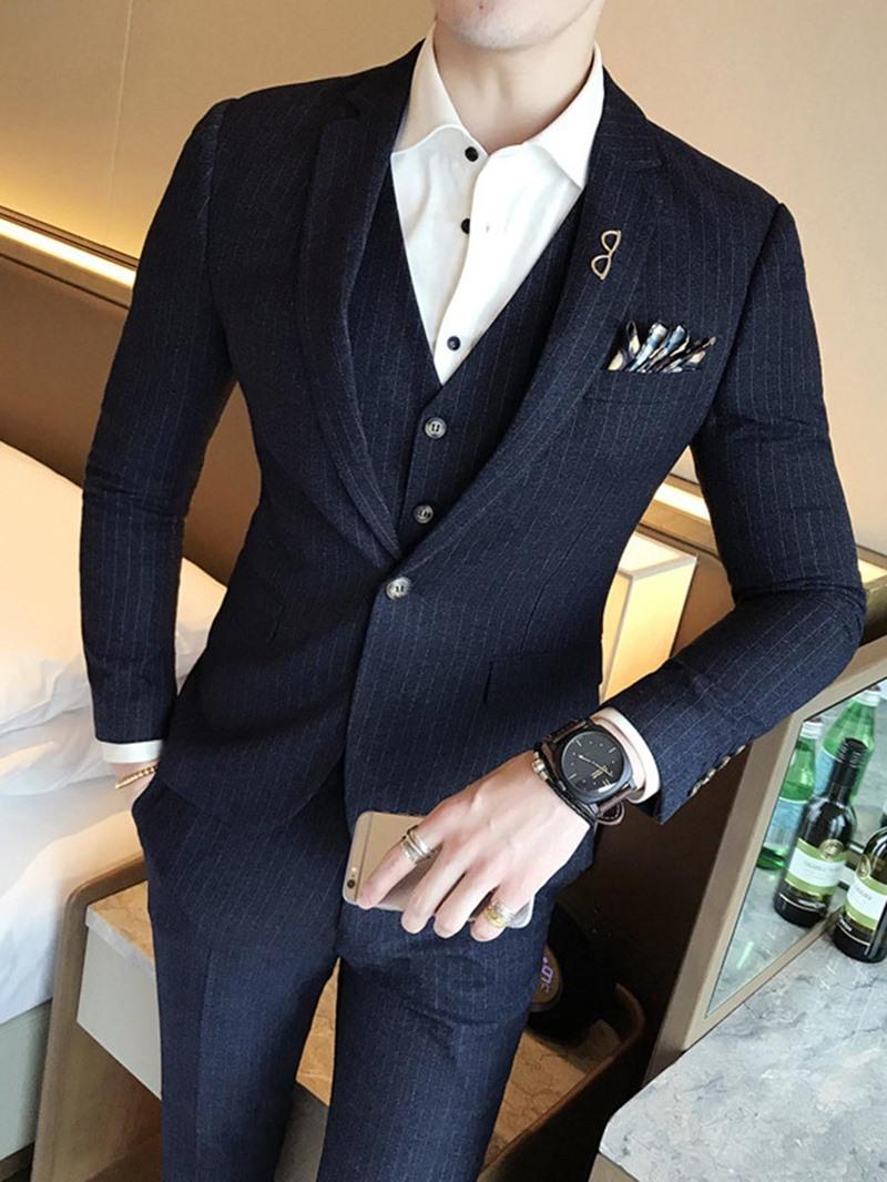 Ericdress Lapel Slim Fit Solid Color Wedding Three-piece of Men's Suits