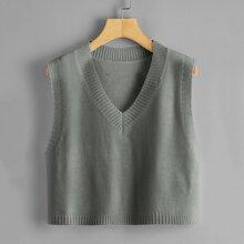 V-neck Crop Sweater Vest