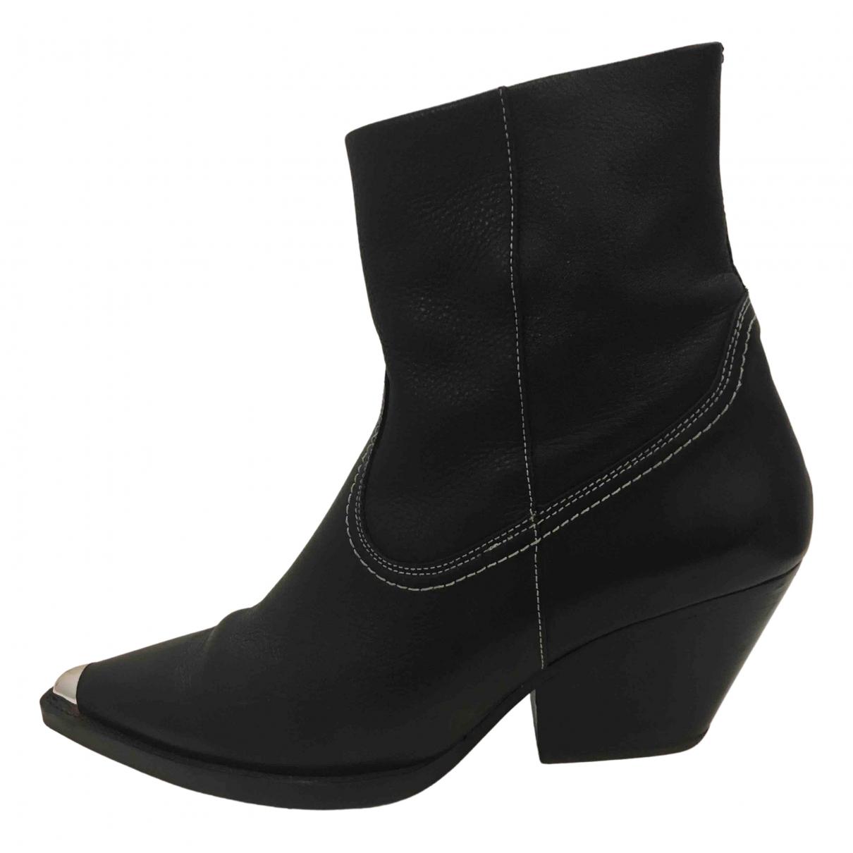 Topshop - Boots   pour femme en cuir - noir