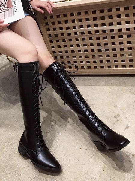 Milanoo Botas de combate hasta la rodilla para mujer Botas de tacon bajo con punta cuadrada