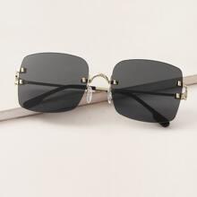 Randlose Sonnenbrille mit quadratischen Linsen