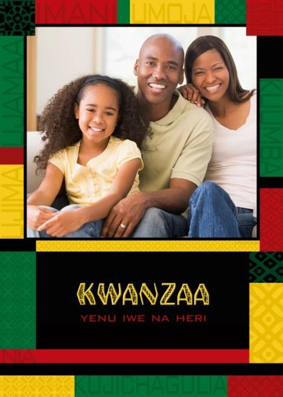 Kwanzaa Photo Cards 5x7 Folded Cards, Premium Cardstock 120lb, Card & Stationery -Colorful Kwanzaa