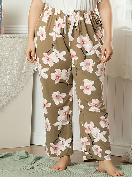 Milanoo Pantalones con estampado floral Pantalones de cintura elastica