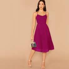 Scallop Edge Pleated Cami Dress