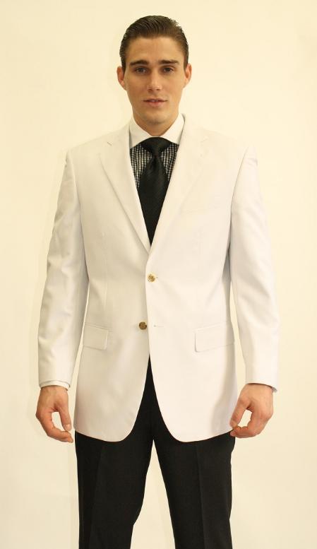 Mens 2 Button White Dinner Jacket Blazer