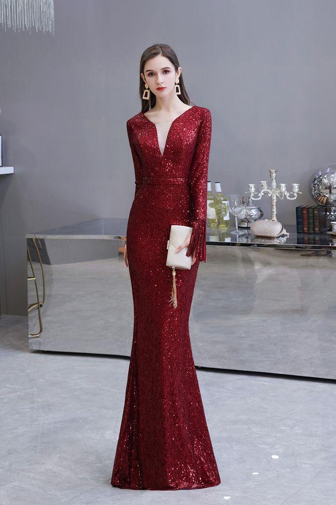 Elegant Sparkle Sequined Burgundy Long sleeve V-neck Mermaid Long Prom Dress