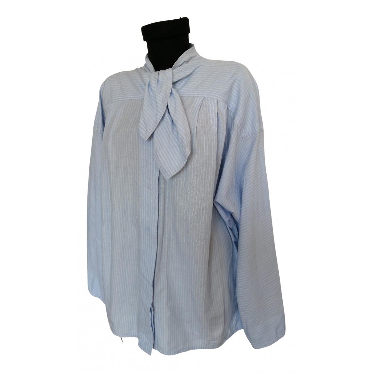 Max Mara - Top   pour femme en coton - bleu