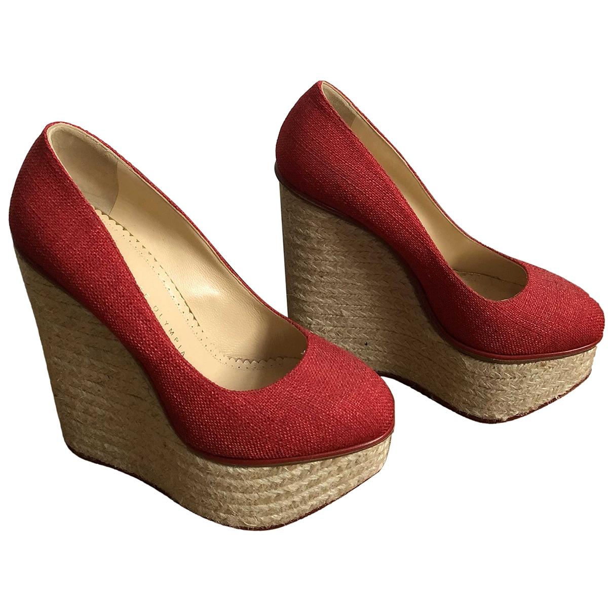 Charlotte Olympia - Escarpins   pour femme en toile - rouge