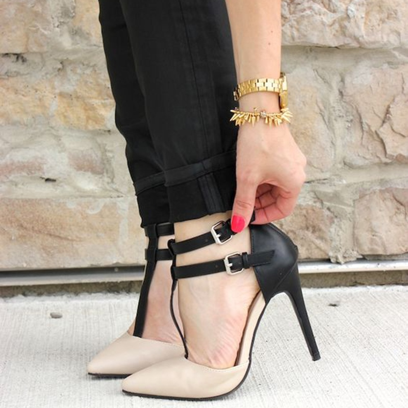 Ericdress Pointed Toe T Strap Stiletto Heels