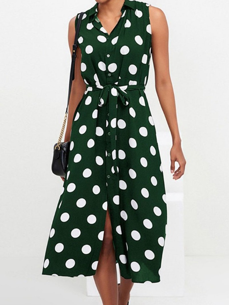 Ericdress Polka Dots Mid-Calf Sleeveless Lapel Fashion Chiffon Dress