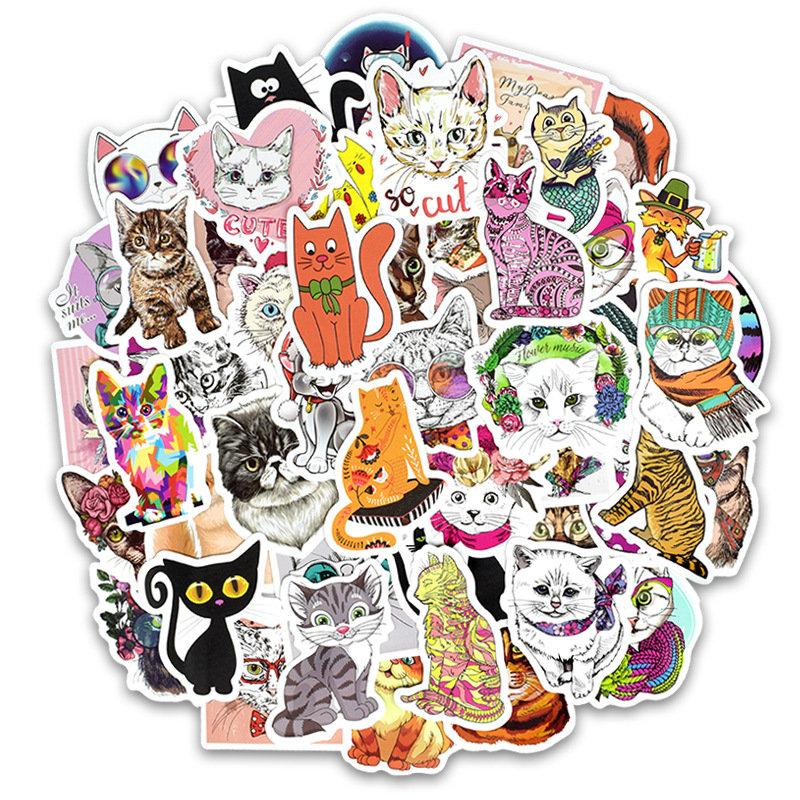 50Pcs Cartoon Cat Series Doodle Stickers Car Luggage Skateboard Guitar Computer Laptop Stickers