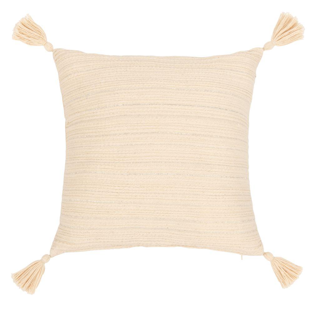 Kissenbezug aus Baumwolle, naturweiss und silbern mit Quasten 40x40