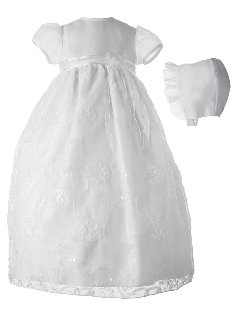 Ericdress Appliques Sequins Bonnet Infant Baby Girls Christening Gown