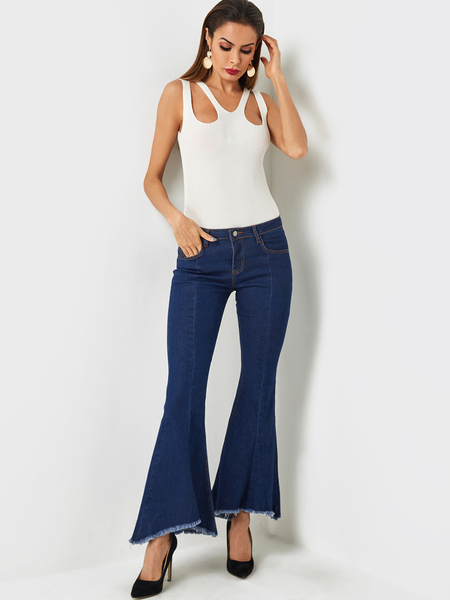 Yoins Blue Side Pockets Middle-waisted Flares