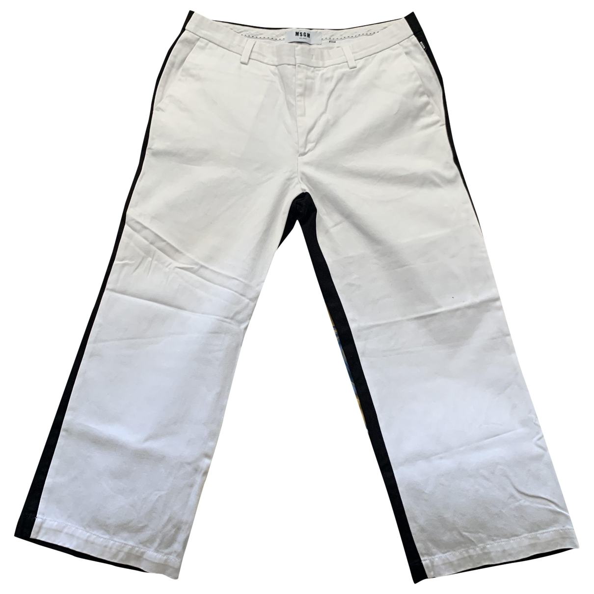 Msgm \N White Cotton Trousers for Men 50 IT