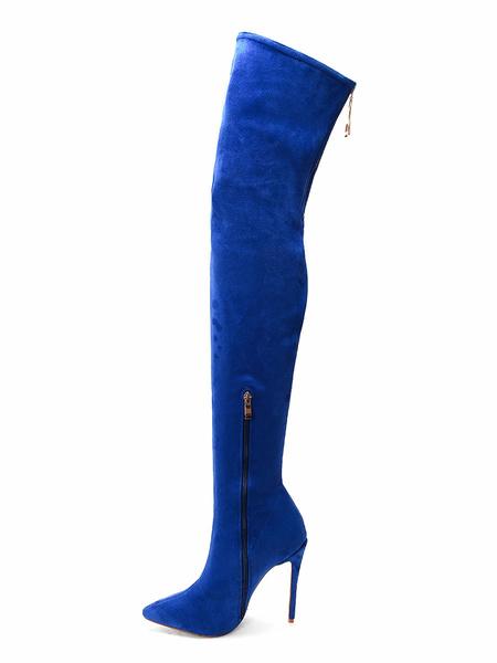 Milanoo Botas por encima de la rodilla Botas altas de tacon de aguja con punta en punta azul de micro gamuza