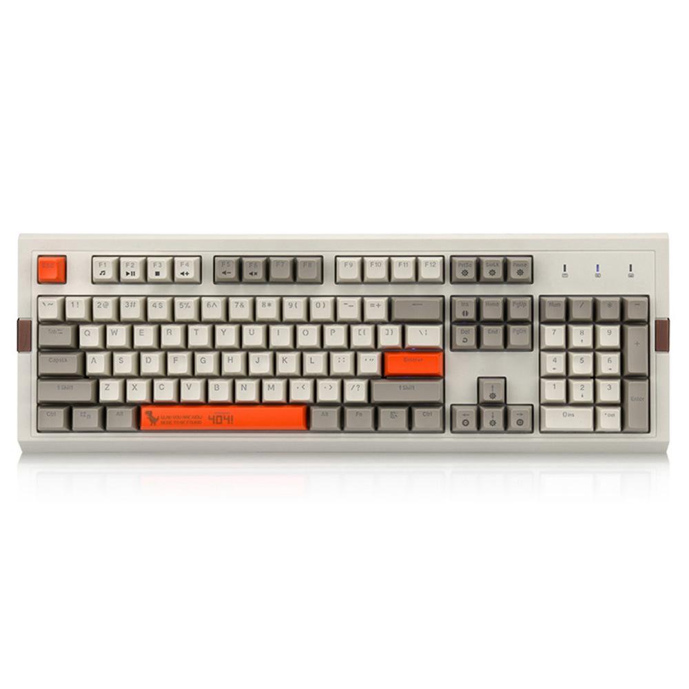 Ajazz AK510 Retro Game Wired Mechanical Keyboard 104Key PBT Ball Key Cap RGB Brown Switch - Gray + Orange