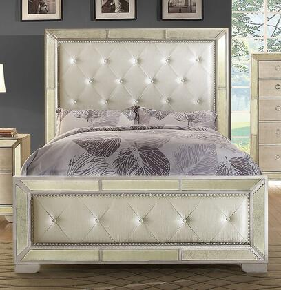 Loraine Collection CM7195CK-BED California King Size Bed with Modern Victorian Style  Leatherette Upholstery  Antique Mirror Panels and Wood Veneers