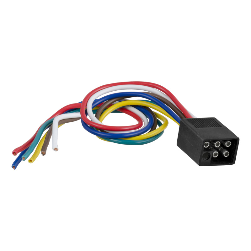 Curt 58037 6-Way Square Connector Plug with 12