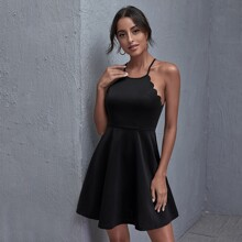 Scallop Trim Solid Cami Dress
