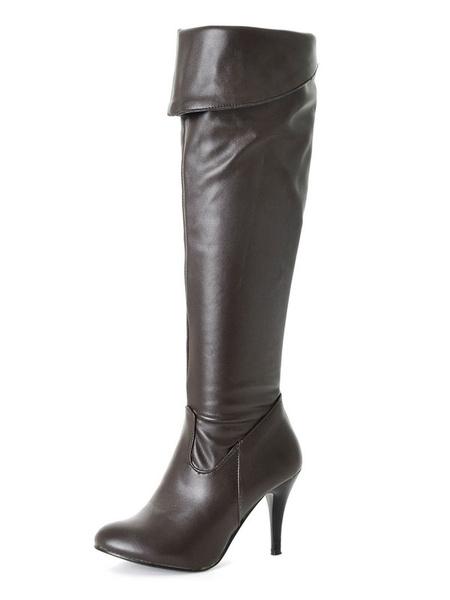 Milanoo Botas altas mujer negro  botas altas negras de PU de tacon de stiletto de puntera puntiaguada 8cm Color liso Invierno Cremallera estilo street