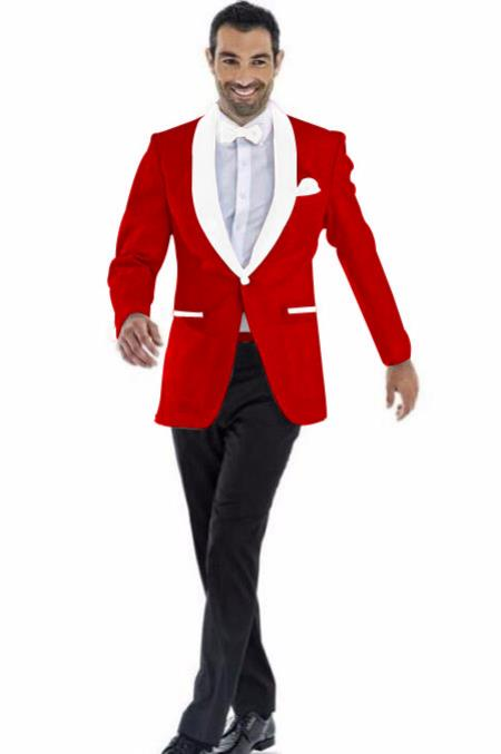 Mens Blazer Dark Red ~ White