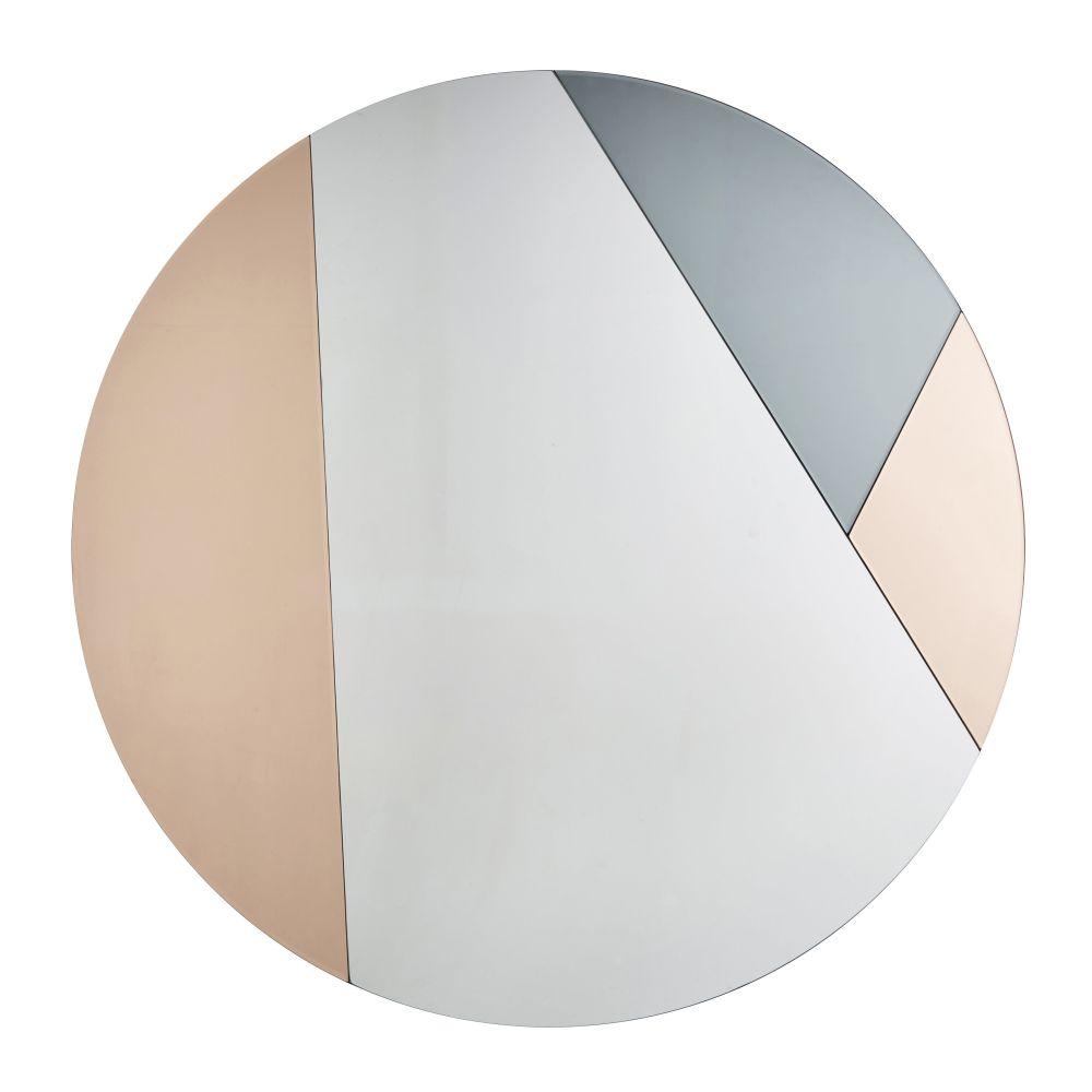 Runder Spiegel kupferfarben getont aus Rauchglas D100