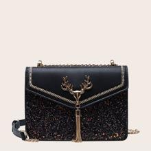 Tassel Charm Glitter Crossbody Bag