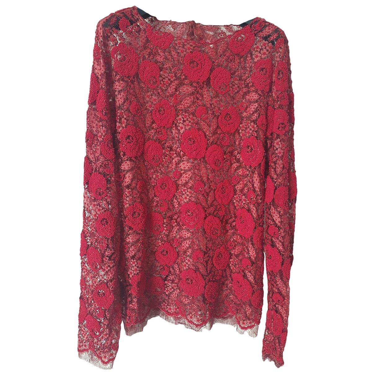 Gucci - Top   pour femme en dentelle - rouge