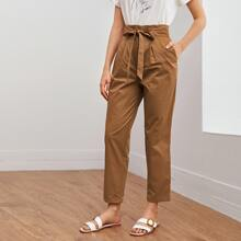 Paperbag Waist Tie Front Fold Pleated Pants