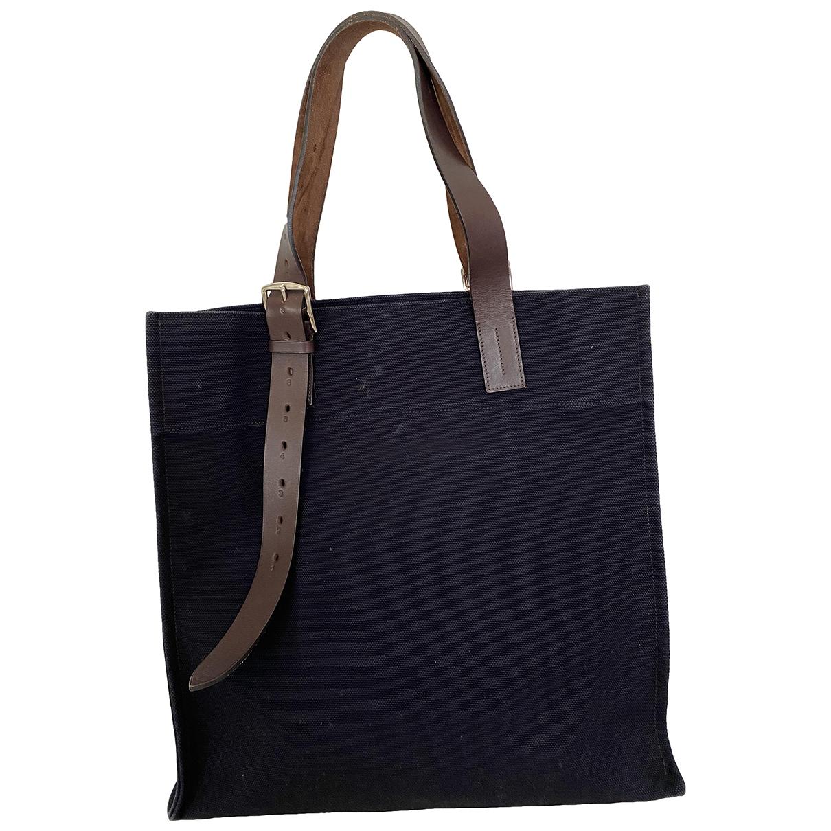 Hermes Etriviere Handtasche in  Schwarz Baumwolle