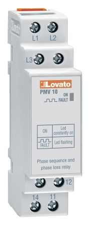 Lovato Voltage Monitoring Relay With SPDT Contacts, 208 → 480 V ac Supply Voltage, 3 Phase, Self Powered
