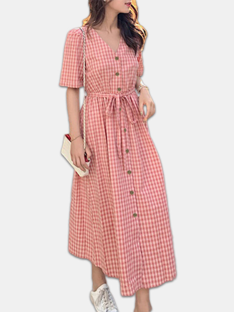 Plaid Button V-neck Belted Short Sleeve Plus Size Dress