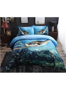 Swimming Turtle Blue Ocean Printed 4-Piece 3D Bedding Sets/Duvet Covers